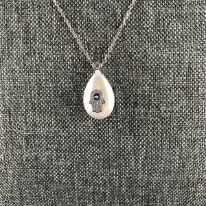 Jewelry - Evil Eye Hamsa Mother of Pearl Silver Necklace